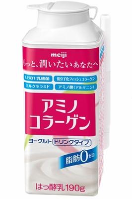 低分子化フィッシュコラーゲン1000mgとミルクセラミド40mgを配合した明治の「アミノコラーゲンヨーグルトドリンクタイプ脂肪0」(税別129円)