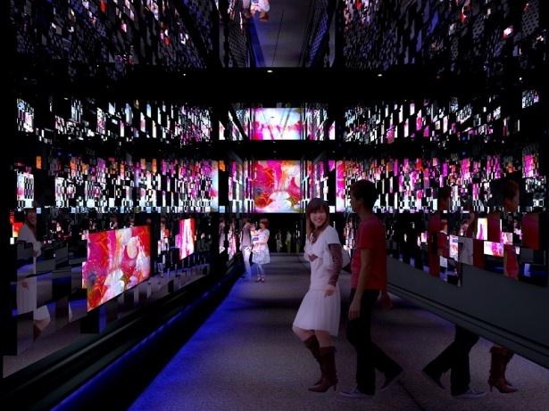 蜷川作品とコラボした「クラゲ万華鏡トンネル」昼バージョンのイメージ