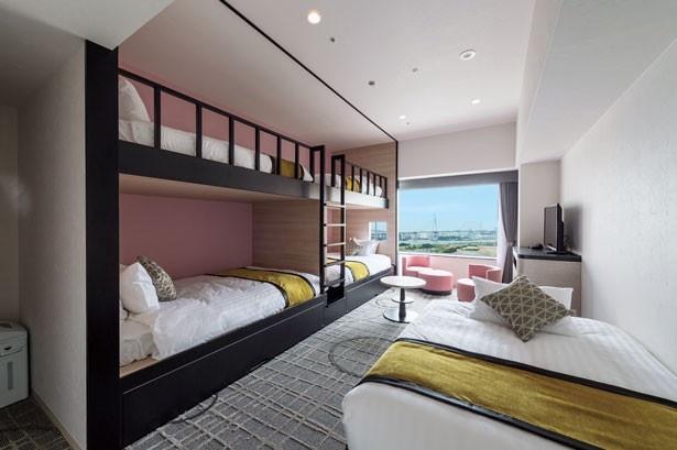 12~15階の部屋は、1940年代のマイアミをイメージ。2段ベッドなどグループでの宿泊にも対応できる部屋も多い