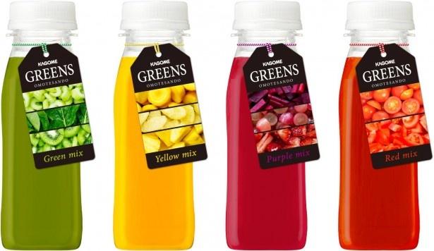 【写真を見る】「GREENS」(480円)。セロリ、キウイの食感が楽しめるGreen Mixなど4種類 ※コンビニなどで販売予定の「GREENS」とは原料・製法・価格などが異なる