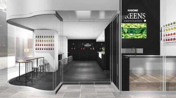 大通りから見ることもできるオープンキッチン。黒を基調とした落ち着いた店内には、野菜飲料に使用する素材をイメージしたカラフルな装飾も ※写真はイメージ