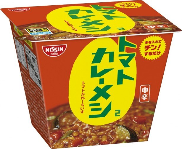 中辛でトマトの酸味、スパイスの風味が特長的な「日清トマトカレーメシ2 」(希望小売価格・税抜220円) ※パッケージのみ変更