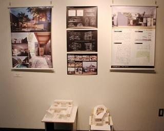 昨年度の展示。模型やパネルを用いて、生活者の目線から建築家や作品を紹介する