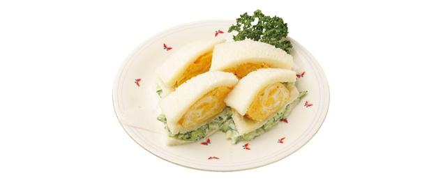 厚さ5cmもある厚焼き卵を挟んだ、西アサヒ(名古屋市西区)の卵サンド(700円)