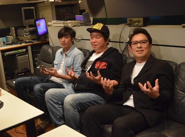 「民王」最終話の副音声「たみちゃんねる」に登場した高橋一生、木村ひさし監督、金田明夫(写真左から)
