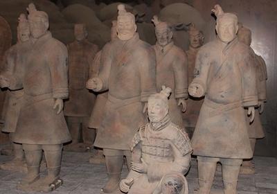 【写真を見る】本展では、兵馬俑(複製)が数多く展示されている