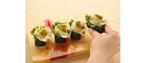 餃子が寿司に!?「冷やし寿司餃子」(500円/赤坂ちびすけ)