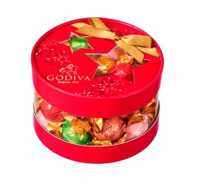 「ラッピングチョコレート クリスマス アソートメント」(20粒入3132円)。季節限定のトリュフ ストロベリーチーズケーキ・キャラメルナッツブラウニーなど5種類のチョコを限定パッケージで