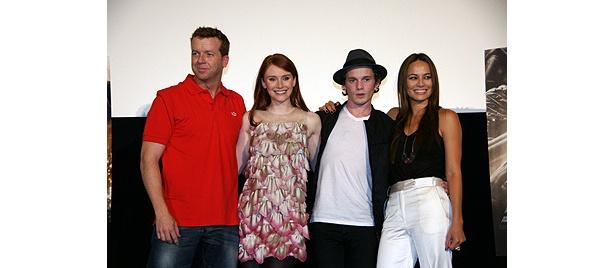 左から:監督のマックG、ブライス・ダラス・ハワード、アントン・イェルチン、ムーン・ブラッドグッド