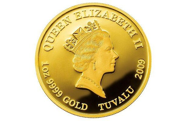 金貨の裏側にはエリザベス2世の肖像が。実はこちらが表面
