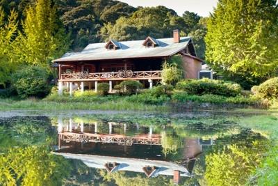 池のほとりに建てられたログハウスレストラン「森のログレストラン アラスカ」