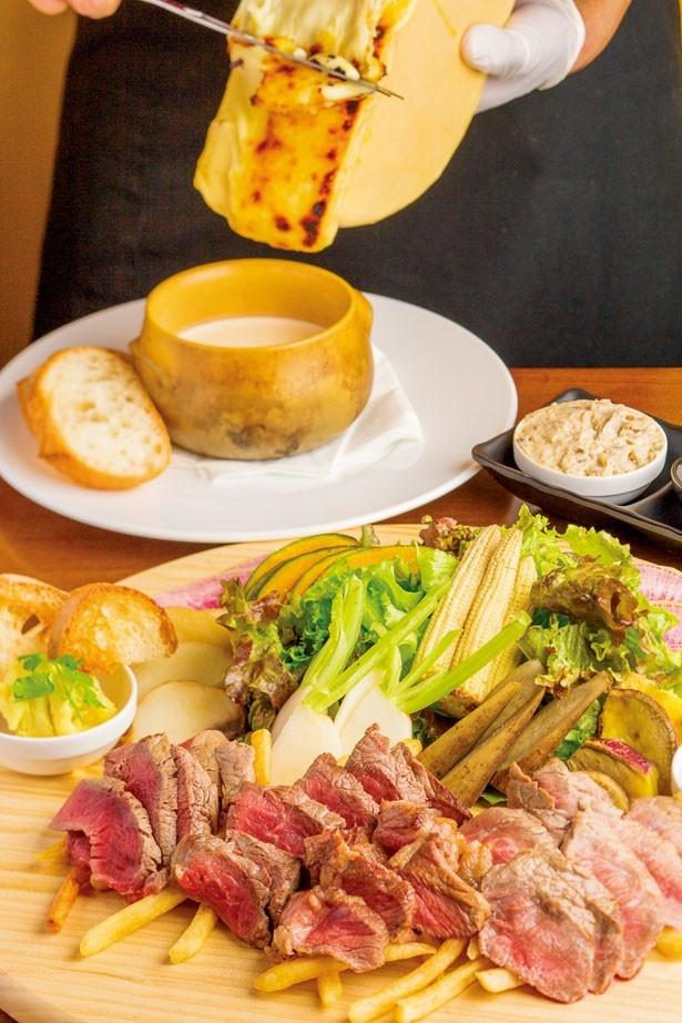Meat Jaxxのオーナーが自信を持っておすすめする「ミートジャックスプレート」(2800円)。色鮮やかに添えられた京野菜は、追加料金でチーズフォンデュにして味わえる