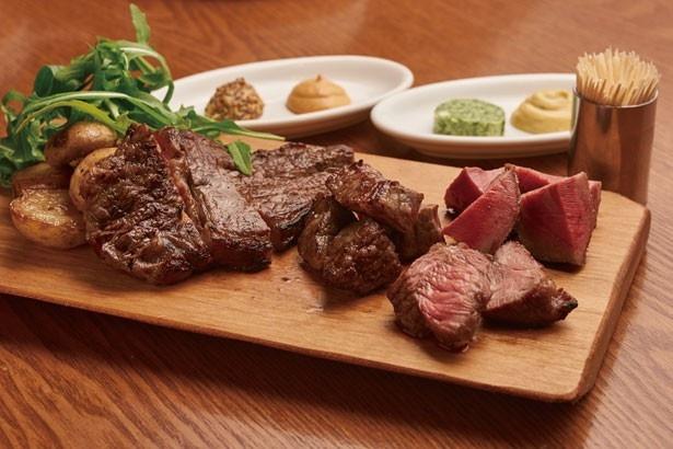 表参道バル エルヴエロの「おまかせお肉3種盛」(3210円)。和牛やラム、イベリコ豚のタンなど、何が出るかはお楽しみ!