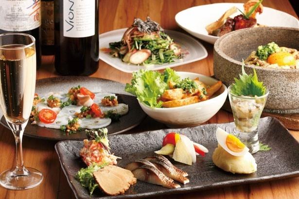 和食、フレンチ、イタリアンを組み合わせた創作料理が楽しめる、池袋 和バル サカノウエ。彩り豊かな前菜など、女子会に最適なメニューが満載!