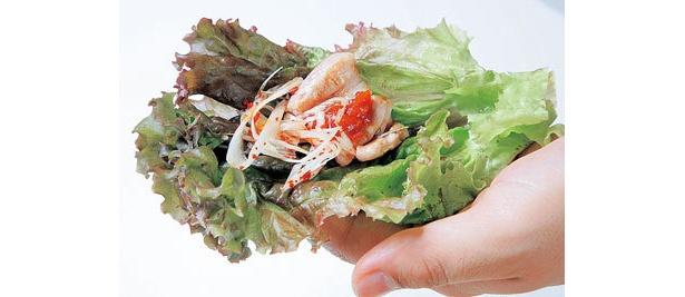 辛味噌やキムチをつけ、サンチュやゴマの葉で包んで