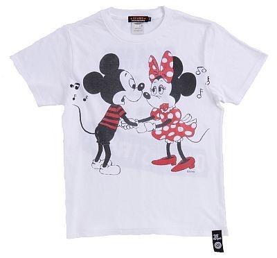 「OVER THE STRiPES×BEAMSのミッキーマウス&ミニーマウスTシャツ」(WHITE・表)