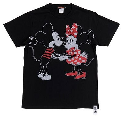 「OVER THE STRiPES×BEAMSのミッキーマウス&ミニーマウスTシャツ」(BLACK・表)