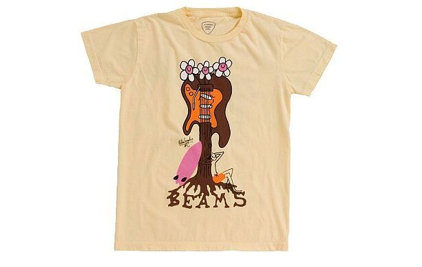 「Palm Graphics×BEAMSのFlower Guitar Tシャツ」(YELLOW・表)