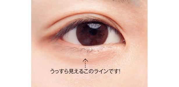 まずは、目を開けたときに、うっすらと見える自分の下まぶたの範囲を確認します。「涙袋と勘違いしがちなので、要注意」