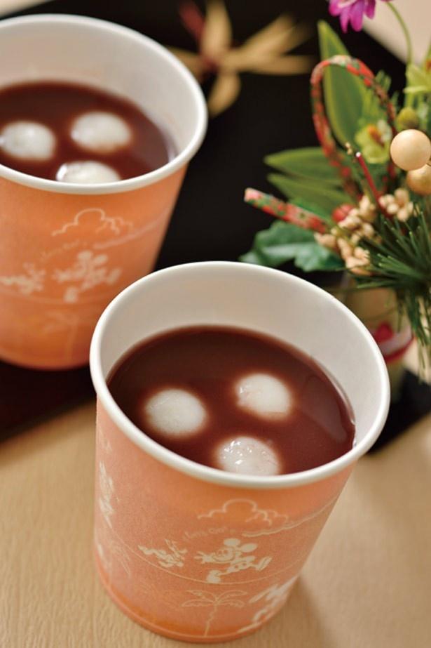 とろみのあるあずき汁の中に、もちもち食感の白玉が入った「おしるこ」(1個300円) ※なくなり次第終了