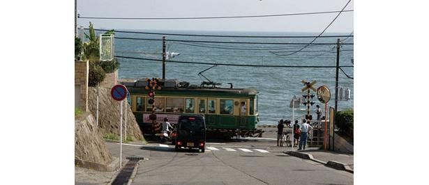 鎌倉高校前駅付近から海を