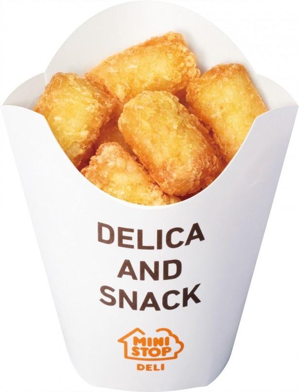 シンプルな塩味とザク切りポテトの食感が特徴の「十勝ハッシュドポテト」(198円)
