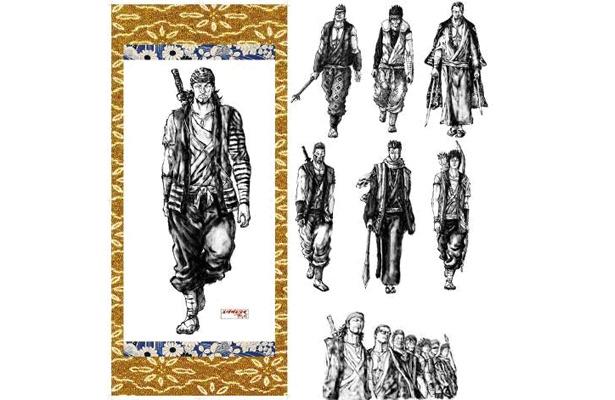 「エグザムライ 戦国 和風ポスター 一般流通版」(1365円)。水墨画風イラストで戦国ならではの和の世界観が表現されている