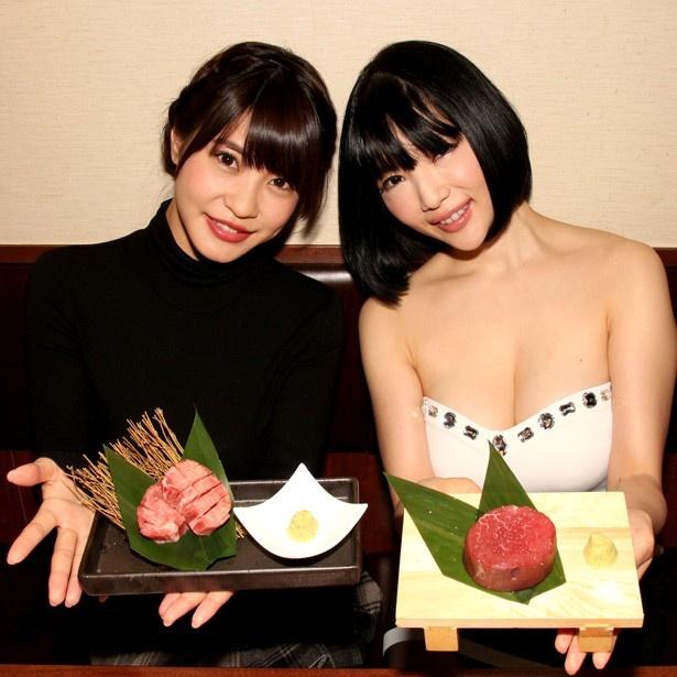 焼き肉についての思いを語った岸明日香(左)と森下悠里