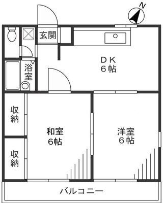 2DKの間取りで広さは40.72平米。トイレやお風呂もハワイ風にデザイン