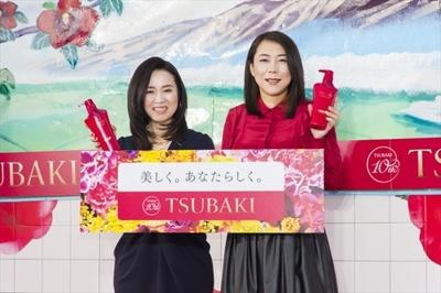 エフティ資生堂 TSUBAKIアソシエイトマーケティングディレクターの郷野摩紀さん(写真左)と椿鬼奴(同右)