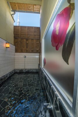 露天風呂からは東京スカイツリーが見える