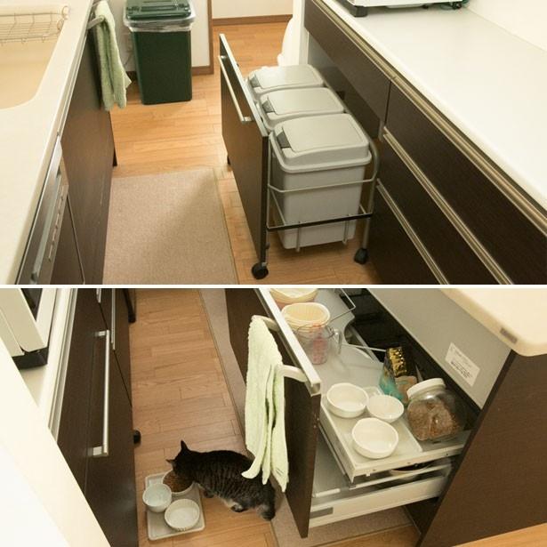 猫、ゴミ関係のものは、すべて風通しのよいキッチンの入り口付近に配置。