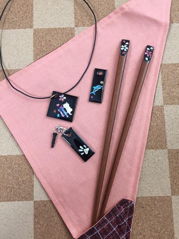 伝統工芸を用いたペンダントや箸を製作できる「螺鈿装飾製作」(2000円)