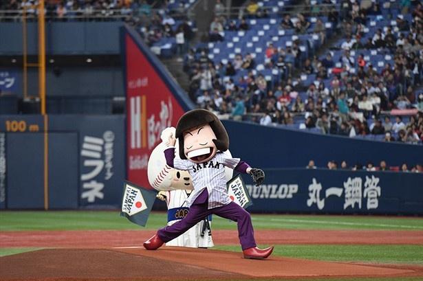 """「おそ松さん」のイヤミが侍ジャパンのマウンドで""""始シェー式"""""""