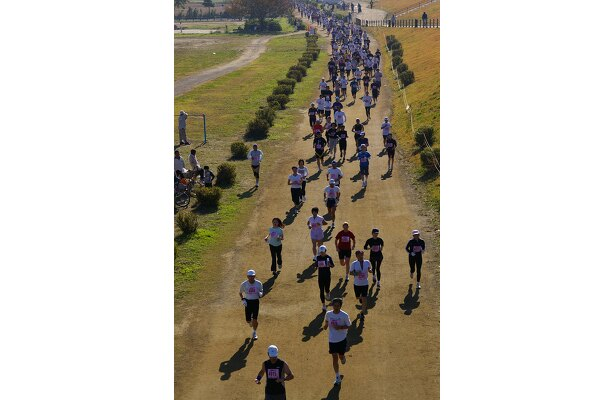 マラソンコースのメインである、自然たっぷりの多摩川河川敷