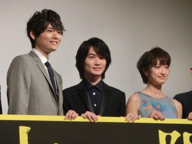 映画「太陽」の完成披露試写会に(左から)古川雄輝、神木隆之介、門脇麦が登場