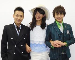 東海発のイケメン男性グループ・BOYS AND MEN。左から田中俊介、田村侑久、小林豊。今回映画「復讐したい」のキャンペーンでメンバーの3人が福岡にやってきた