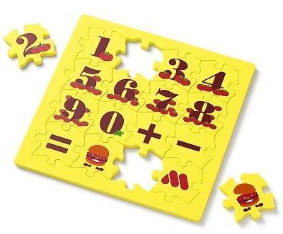 モスの初回作「モスワイワイパズル」は、パズルとしてだけでなく、プリントされた数字と、+、−、=を使って計算問題にチャレンジ
