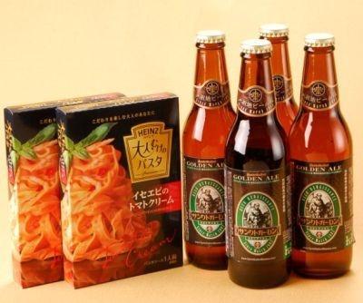 「大人むけのパスタソース」と相性のいいワイン、日本酒、地ビールが楽しめる。写真は「ゴールデンエール」