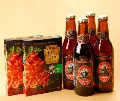 ソースの辛さに奥行きを与える、苦味の効いたビール。「アンバーエール」