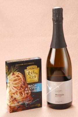 「きのこのチーズクリーム ポルチーニ仕立て」には、チーズと相性の良い辛口発泡ワインを「ローガンワインズ ウィマーラ ブリュット」
