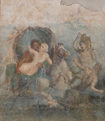 農園別荘の西側に飾られていた「ポセイドンとアミュモネ」