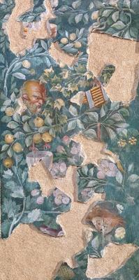 タブロー画の背景の描き方は、この場面が室内であることを暗示している。「詩人のタブロー画がある壁画断片」