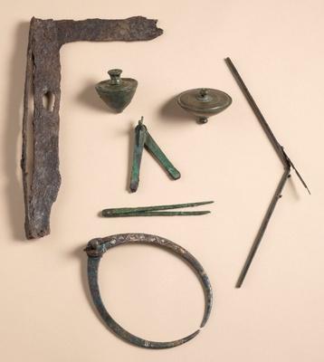 当時の壁画制作に使用された道具類