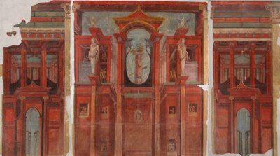 ポンペイの赤が鮮やかな、「赤い建築を描いた壁面装飾」