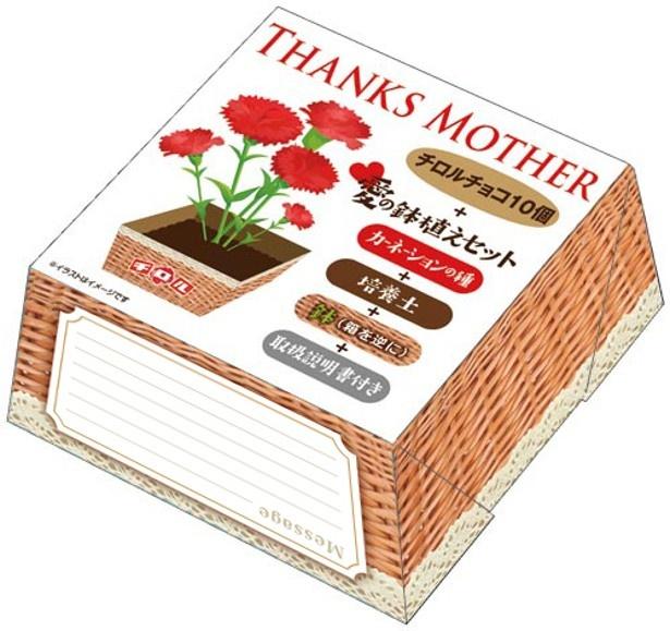 愛の鉢植えセット、リーフレット、チロルチョコ10個がセットになった「母の日BOX」(税抜300円)