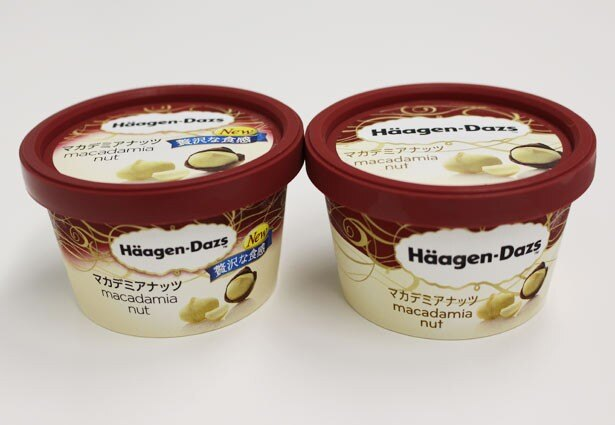 左が3月29日(火)から発売される「ハーゲンダッツ ミニカップ マカデミアナッツ」(希望小売価格294円)。パッケージの色合いや、フレーバー名称の文字色も変更されている