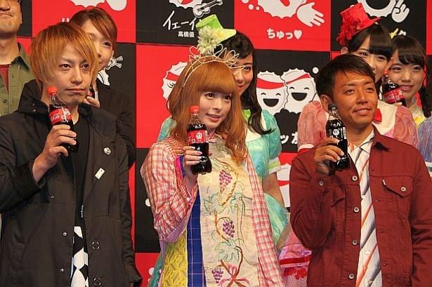 【写真を見る】中田ヤスタカ(CAPSULE)、きゃりーぱみゅぱみゅ、PES(RIP SLYME)が登場!(左から)
