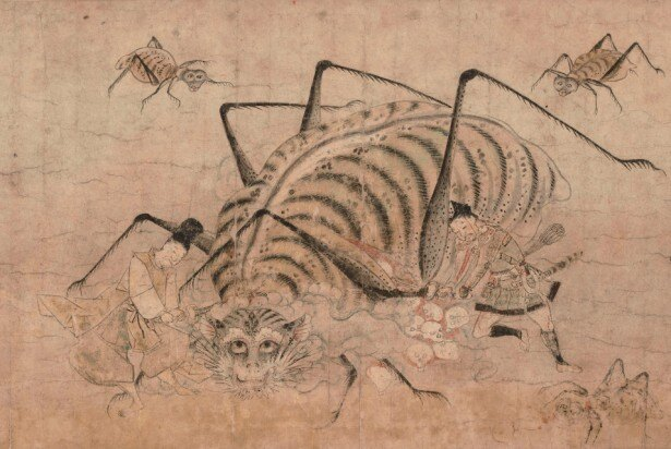 巨大妖怪土蜘蛛の腹の中からしゃれこうべが溢れ出る「土蜘蛛草紙絵巻」