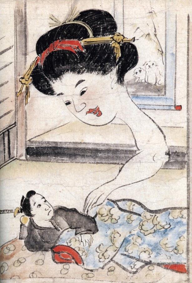 平太郎が毎夜現れる妖怪たちをものともせず受け入れる「稲生物怪録絵巻」